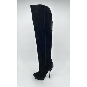H By Halston Suede Over The Knee Boots Platform